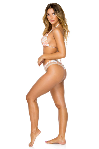 AMOR TABACO Y RON - Camila Top & Mesh High Leg Brazilian Bottom • Rose Gold