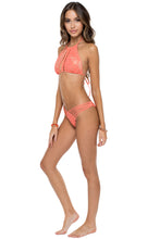 GUAGUANCO - Strings To Braid Halter Top & Strappy Brazilian Ruched Back Bottom • Mamey