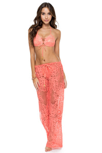 GUAGUANCO - Molded Push Up Bandeau Halter Top & Beach Pant • Mamey