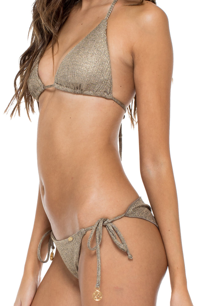 COMPAI - Triangle Top & Wavey Ruched Back Brazilian Tie Side Bottom • Bronze