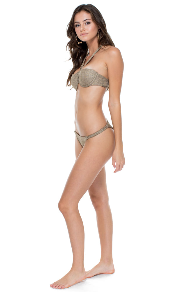 COMPAI - Fama Multi Way Underwire Bandeau Top & Double Braided Moderate Bottom • Bronze