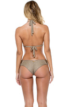 COMPAI - Triangle Halter Top & Scrunch Ruched Back Brazilian Bottom • Bronze