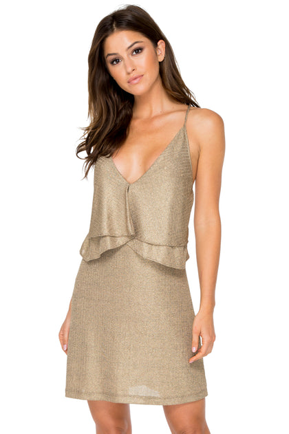 COMPAI - Ruffle Layered Short Dress • Bronze