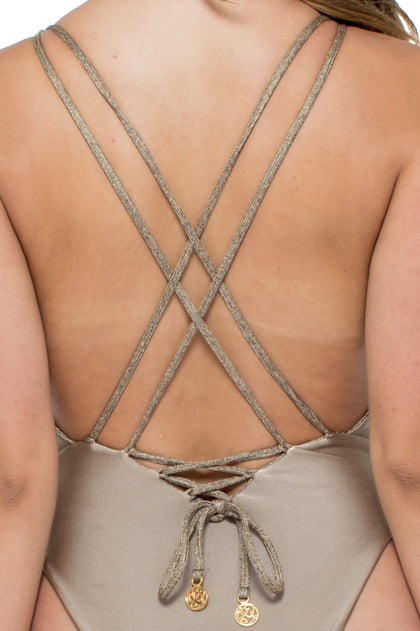 COMPAI - Deep V Crossed Back One Piece • Bronze