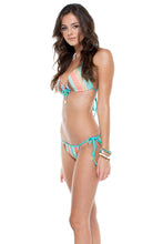 LA GLORIA CUBANA - Molded Push Up Bandeau Halter Top & Tie Side Moderate Back Bottom • Multicolor