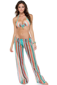 LA GLORIA CUBANA - Molded Push Up Bandeau Halter Top & Beach Pant • Multicolor