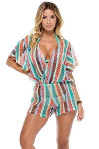 LA GLORIA CUBANA - Open Back Butterfly Romper • Multicolor