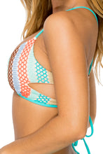 LA GLORIA CUBANA - Laura Cutout Side Triangle Top & Scrunch Ruched Back Brazilian Bottom • Multicolor