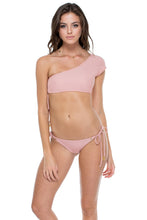 MAMBO - Sonia One Shoulder Top & Wavey Ruched Back Brazilian Tie Side Bottom • Rosa