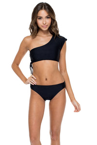 MAMBO - Sonia One Shoulder Top & Full Bottom • Black (874571300908)