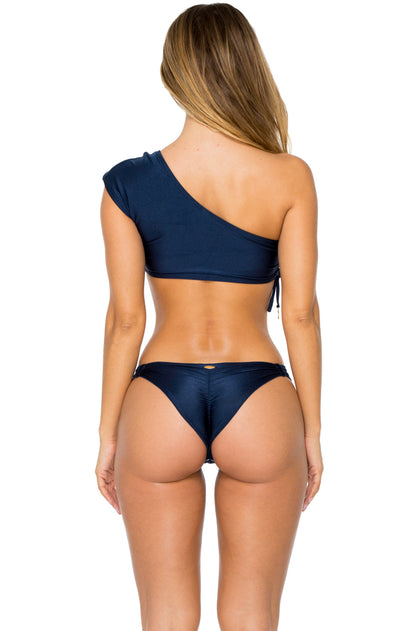 MAMBO - Sonia One Shoulder Top & Strappy Brazilian Bottom • Marino