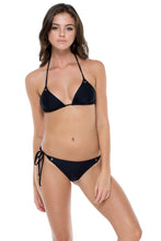 MAMBO - Triangle Top & Wavey Ruched Back Brazilian Tie Side Bottom • Black