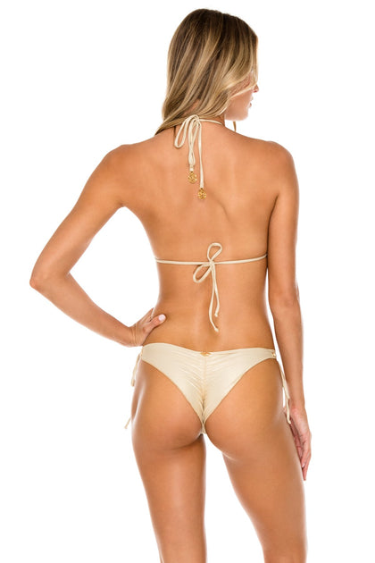 MAMBO - Triangle Top & Wavey Ruched Back Brazilian Tie Side Bottom • Gold Rush