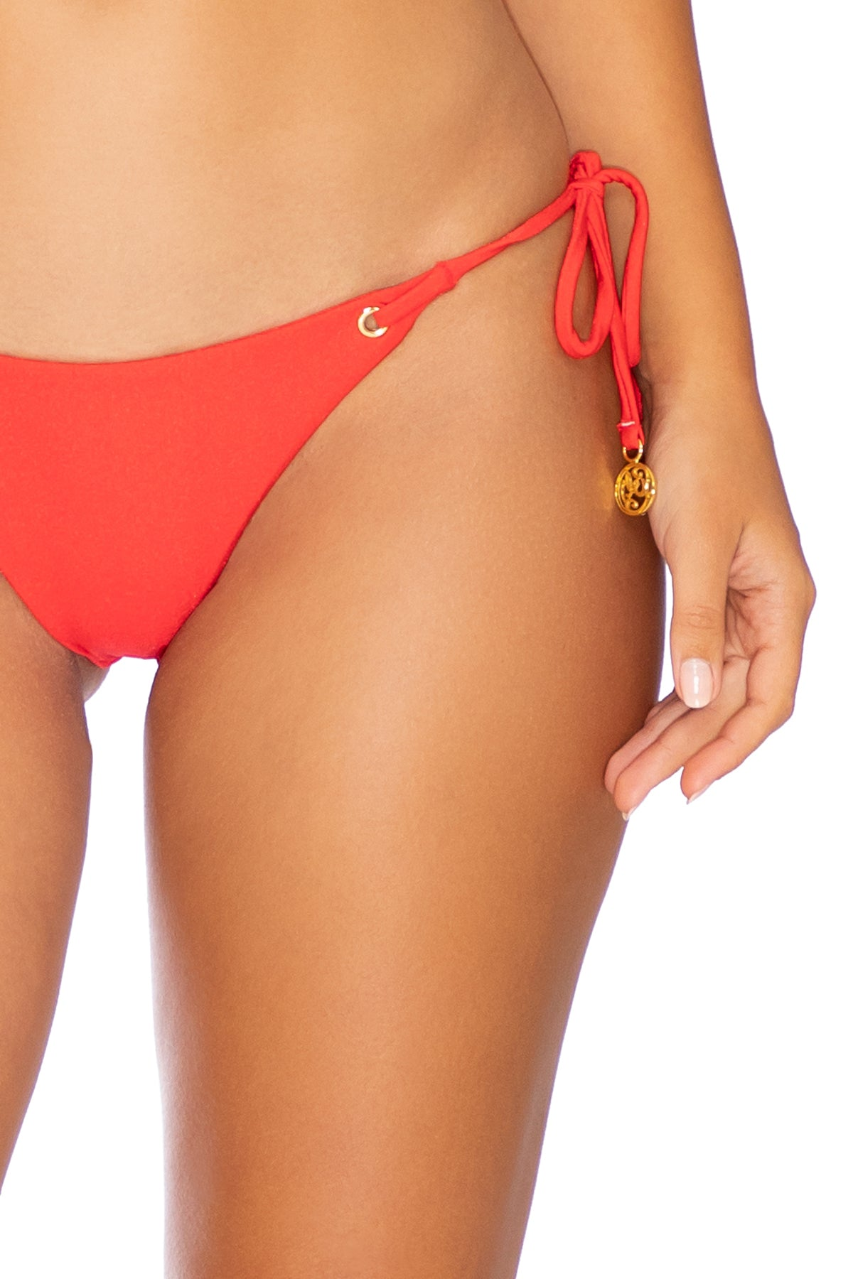 MAMBO - Triangle Top & Wavey Ruched Back Tie Side Bottom • Luli Red
