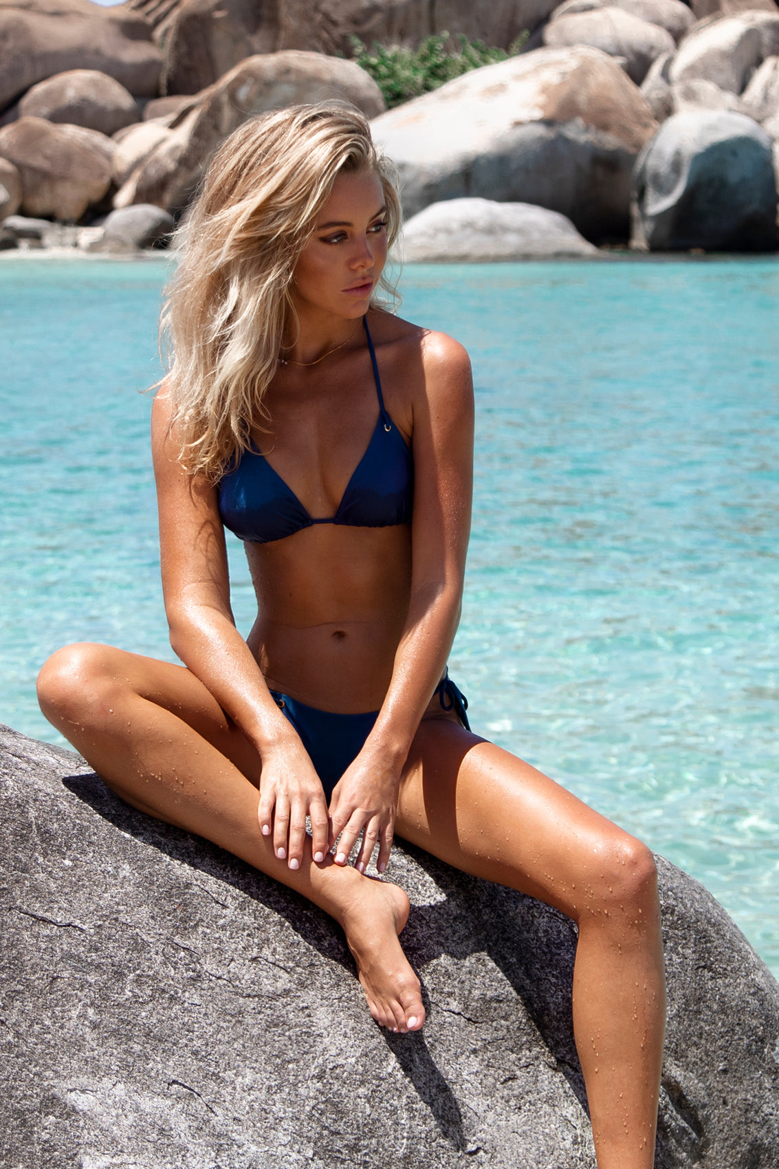 MAMBO - Triangle Top & Wavey Ruched Back Tie Side Bottom • Cove Blue BVI