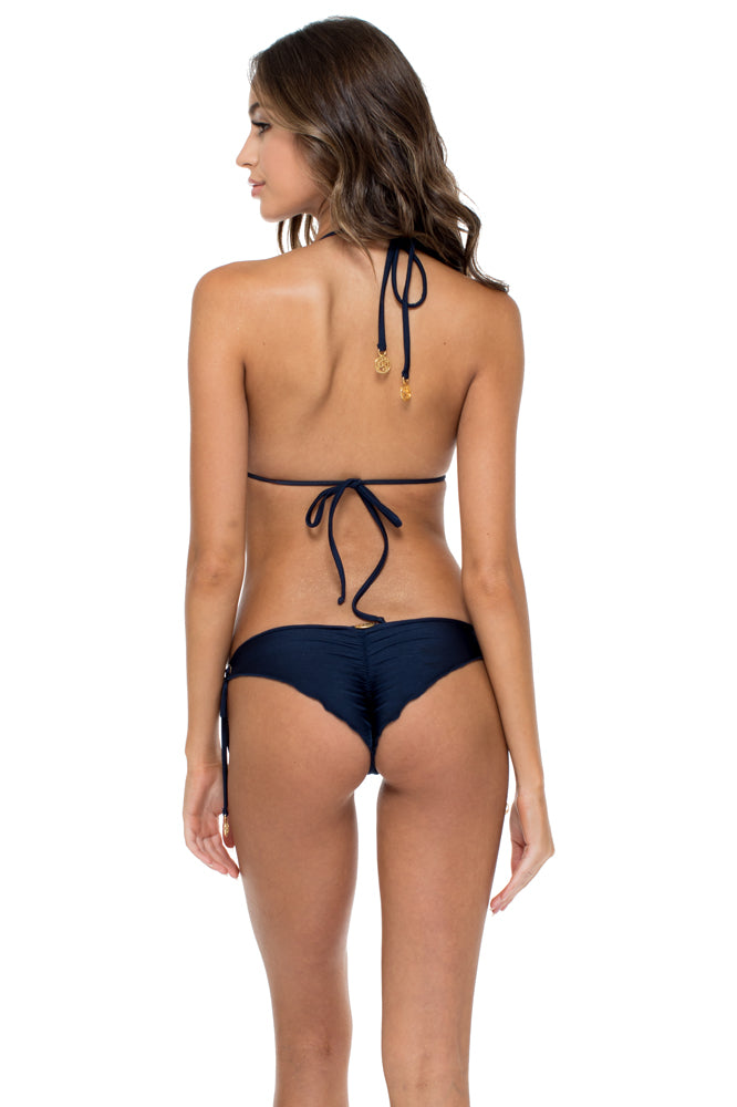 MAMBO - Triangle Top & Wavey Ruched Back Brazilian Tie Side Bottom • Marino