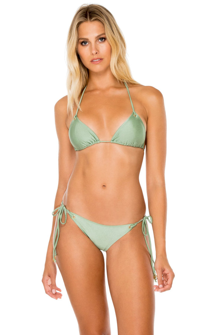 MAMBO - Triangle Top & Wavey Ruched Back Brazilian Tie Side Bottom • Spanish Moss