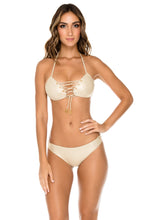 MAMBO - Molded Push Up Bandeau Halter Top & Full Bottom • Gold Rush