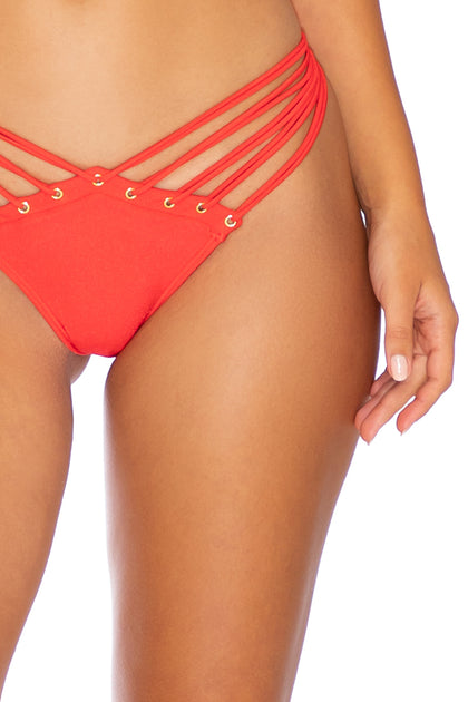 MAMBO - Molded Push Up Bandeau Halter Top & Strappy  Bottom • Luli Red