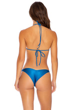MAMBO - Molded Push Up Bandeau Halter Top & Strappy  Bottom • Cove Blue