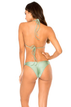 MAMBO - Molded Push Up Bandeau Halter Top & Strappy Brazilian Bottom • Spanish Moss
