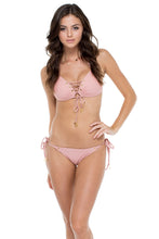 MAMBO - Molded Push Up Bandeau Halter Top & Seamless Moderate Bottom • Rosa