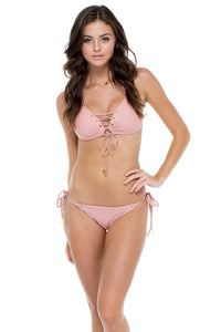 MAMBO - Molded Push Up Bandeau Halter Top & Seamless Moderate Bottom • Rosa (874569433132)