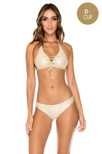 MAMBO - Triangle Halter Top & Full Bottom • Gold Rush