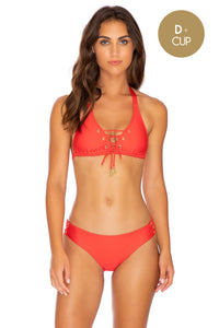 MAMBO - Triangle Halter Top & Full Bottom • Luli Red