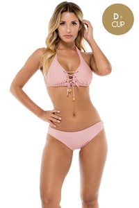 MAMBO - Triangle Halter Top & Full Bottom • Rosa