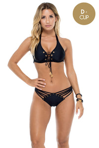 MAMBO - Triangle Halter Top & Strappy Brazilian Bottom • Black