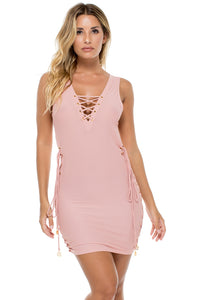 MAMBO - Open Sides Bodycon Dress • Rosa (874571169836)