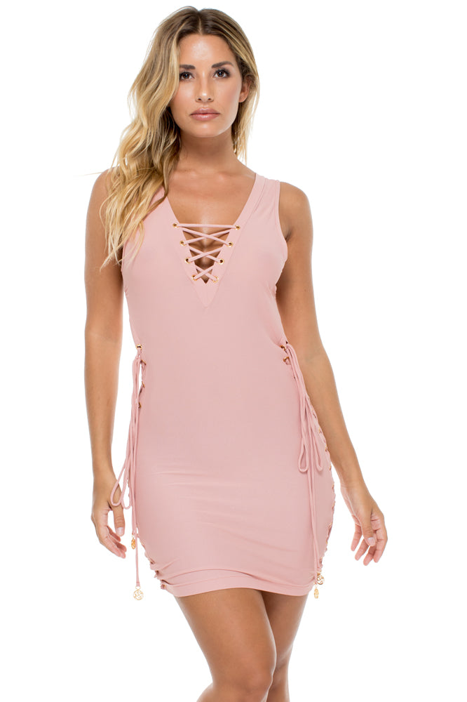 MAMBO - Open Sides Bodycon Dress • Rosa