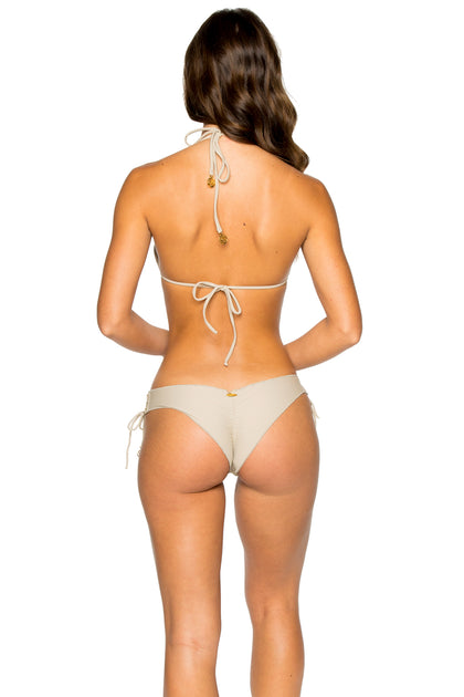 LA CORREDERA - Triangle Top & Ruched Back Brazilian Bottom • Cemento