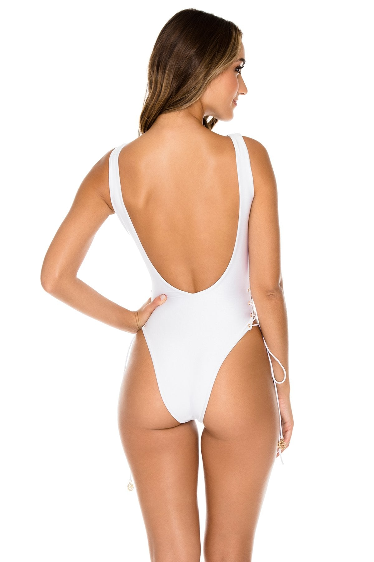 LA CORREDERA - Open Side One Piece Bodysuit • White