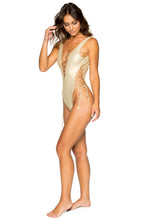 LA CORREDERA - Open Side One Piece Bodysuit • Gold Rush