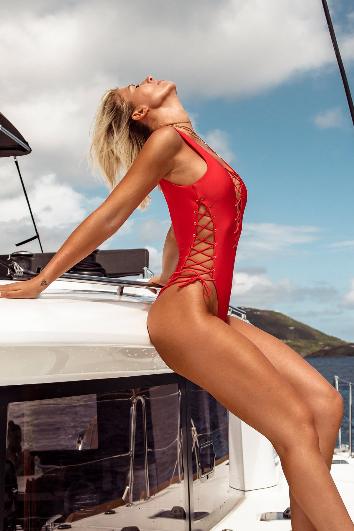 MAMBO - Open Side One Piece Bodysuit • Luli Red BVI