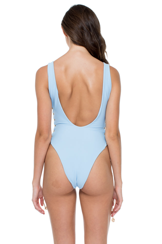 LA CORREDERA - Open Side One Piece Bodysuit • Cielo