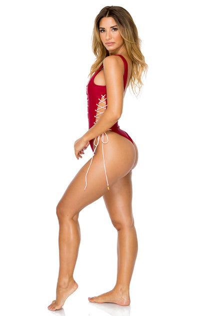 LA CORREDERA - Open Side One Piece Bodysuit • Vino
