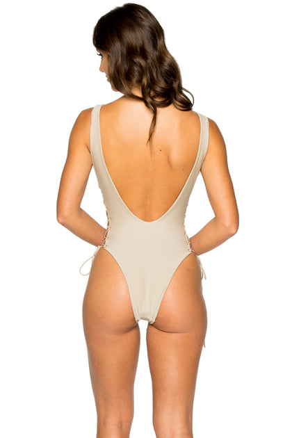 LA CORREDERA - Open Side One Piece Bodysuit • Cemento (1047063429164)