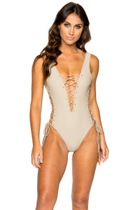 LA CORREDERA - Open Side One Piece Bodysuit • Cemento
