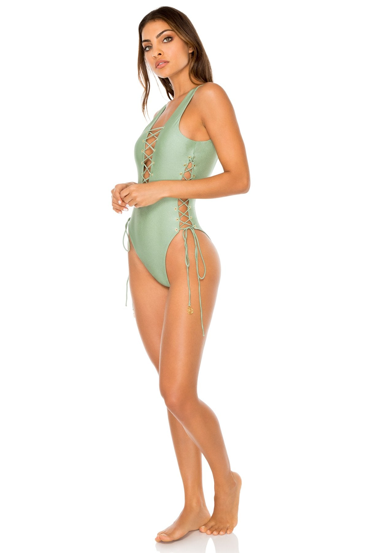 MAMBO - Open Side One Piece Bodysuit • Spanish Moss