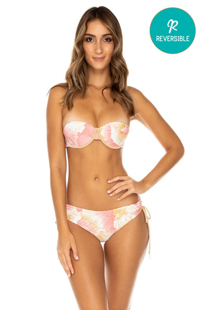 COSTA DE LUZ - Alegria Bandeau Top & Drawstring Side Full Bottom • Multicolor