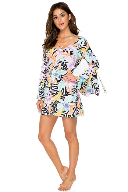 BUENA VISTA - V Neck Bell Sleeve Short Dress • Multicolor