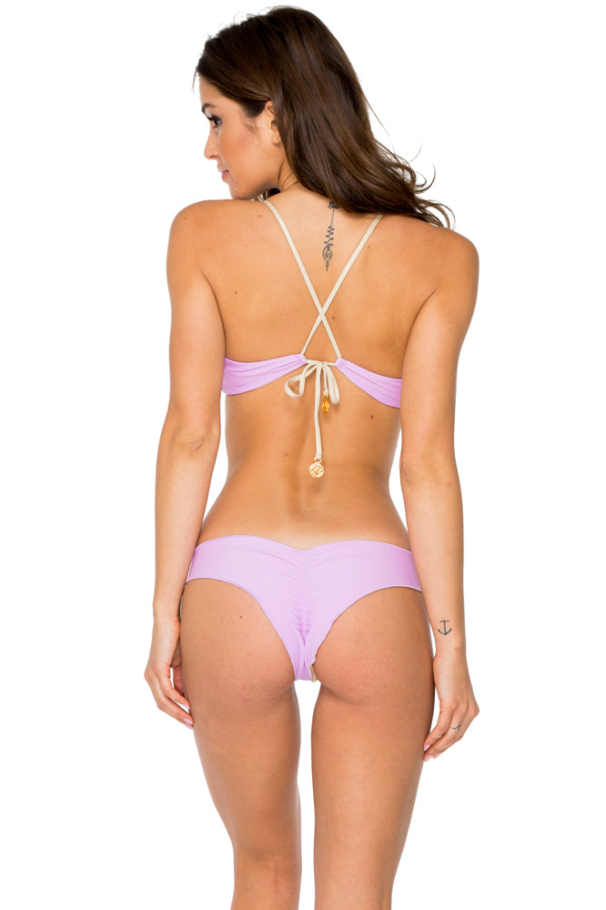 BUENA VISTA - Drawstring Bralette Top & Drawstring Ruched Brazilian Bottom • Lavanda