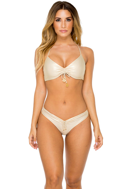 BUENA VISTA - Drawstring Bralette Top & Drawstring Ruched Brazilian Bottom • Melon