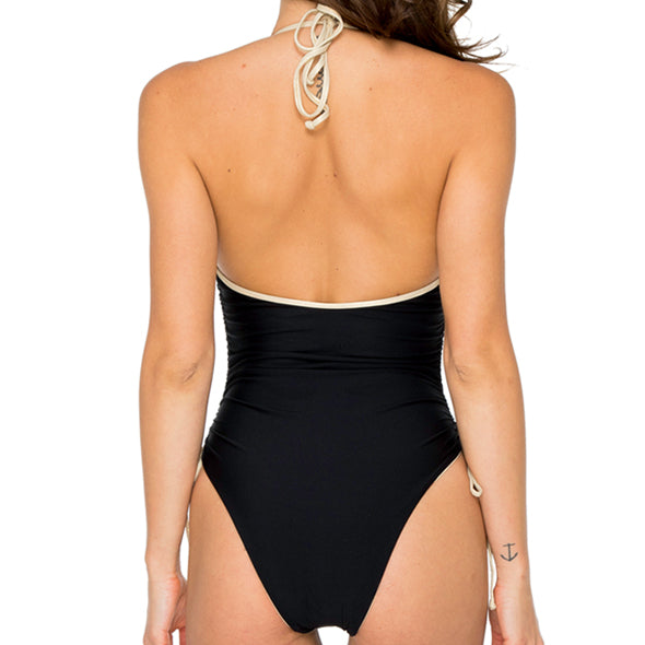 BUENA VISTA - Drawstring High Leg One Piece