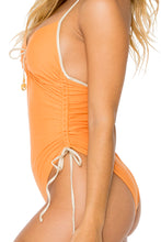 BUENA VISTA - Drawstring High Leg One Piece • Melon