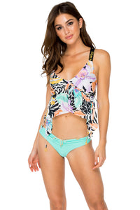 BUENA VISTA - V Neck Crop Top & Drawstring Ruched Brazilian Bottom • Multicolor