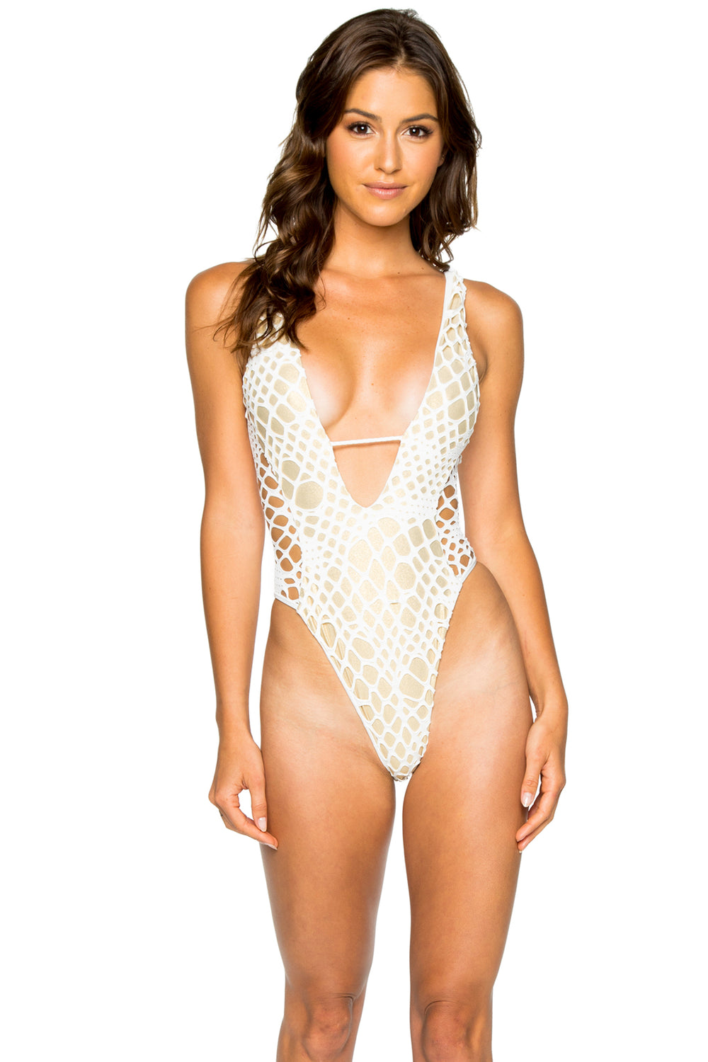LA CABAÑA - High Leg Cut Out One Piece • Off White